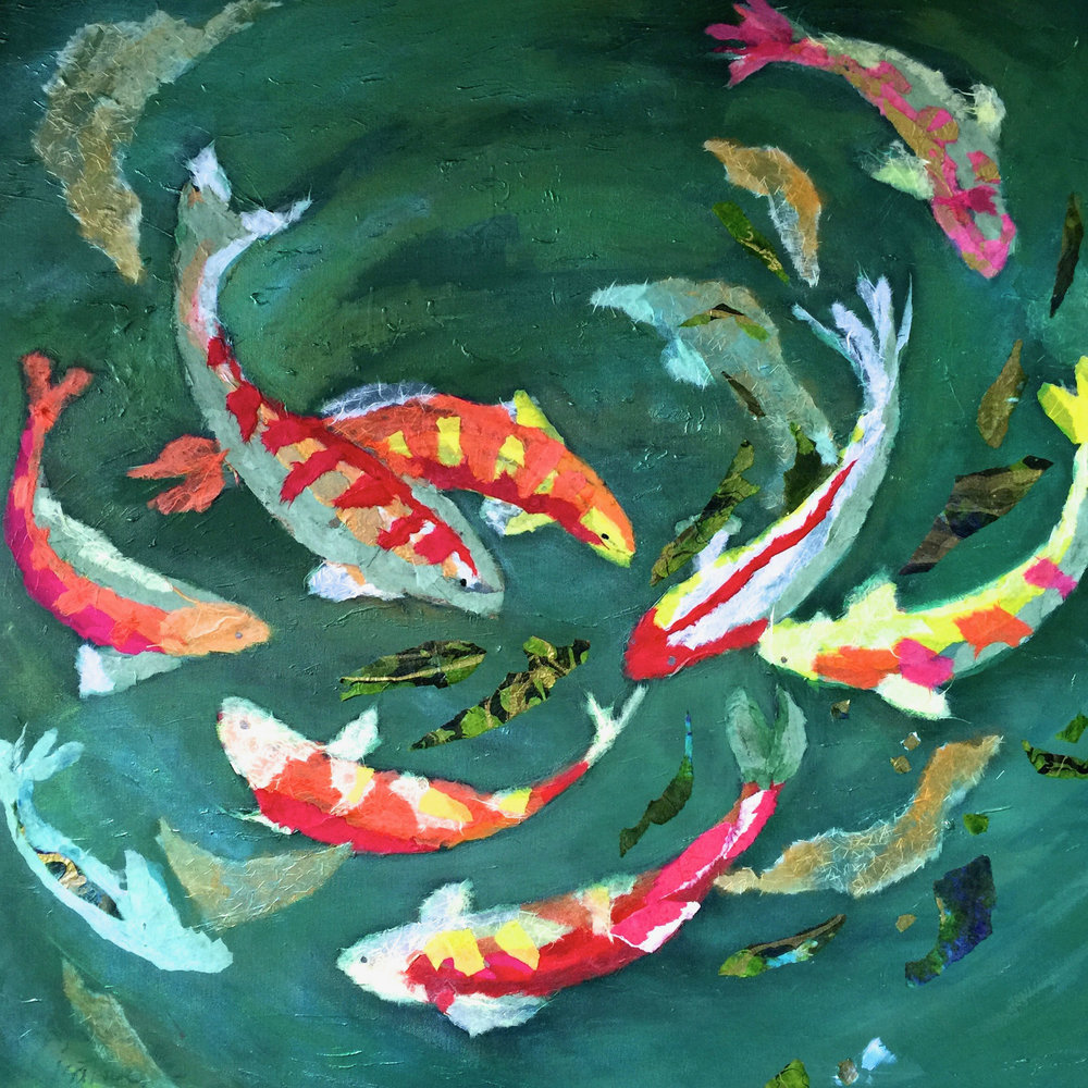 FISH TALES   36X36  mixed media.jpg