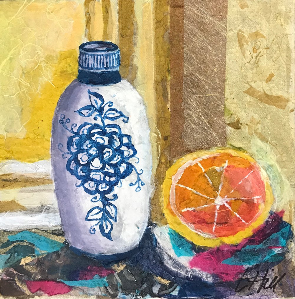 VASE & ORANGE | MIXED MEDIA | 12X12