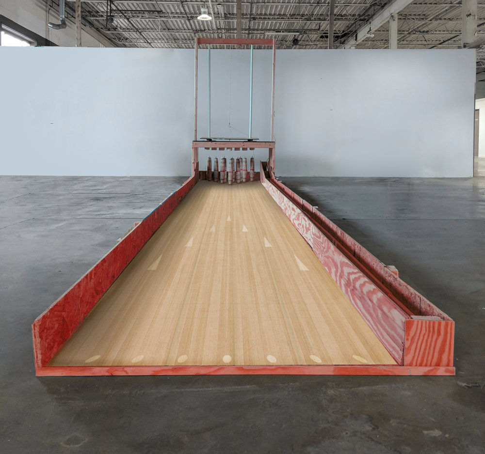 Homemade candlepin bowling lane by Heather Van Winckle will be installed at the Muncie Mall from October 26th to November 4th, 2018.
