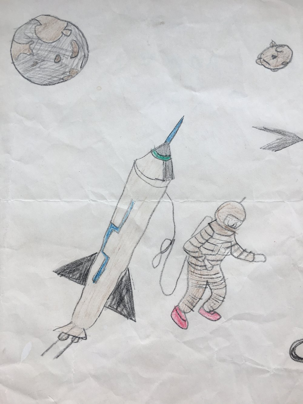 Artwork from age 8: visions of walking in space