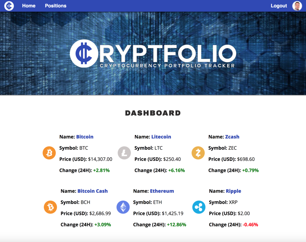 Cryptfolio Screenshot