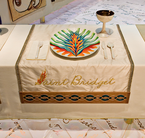 Judy Chicago (American, b. 1939).  The Dinner Party  (Saint Bridget place setting), 1974–79. Mixed media: ceramic, porcelain, textile. Brooklyn Museum.