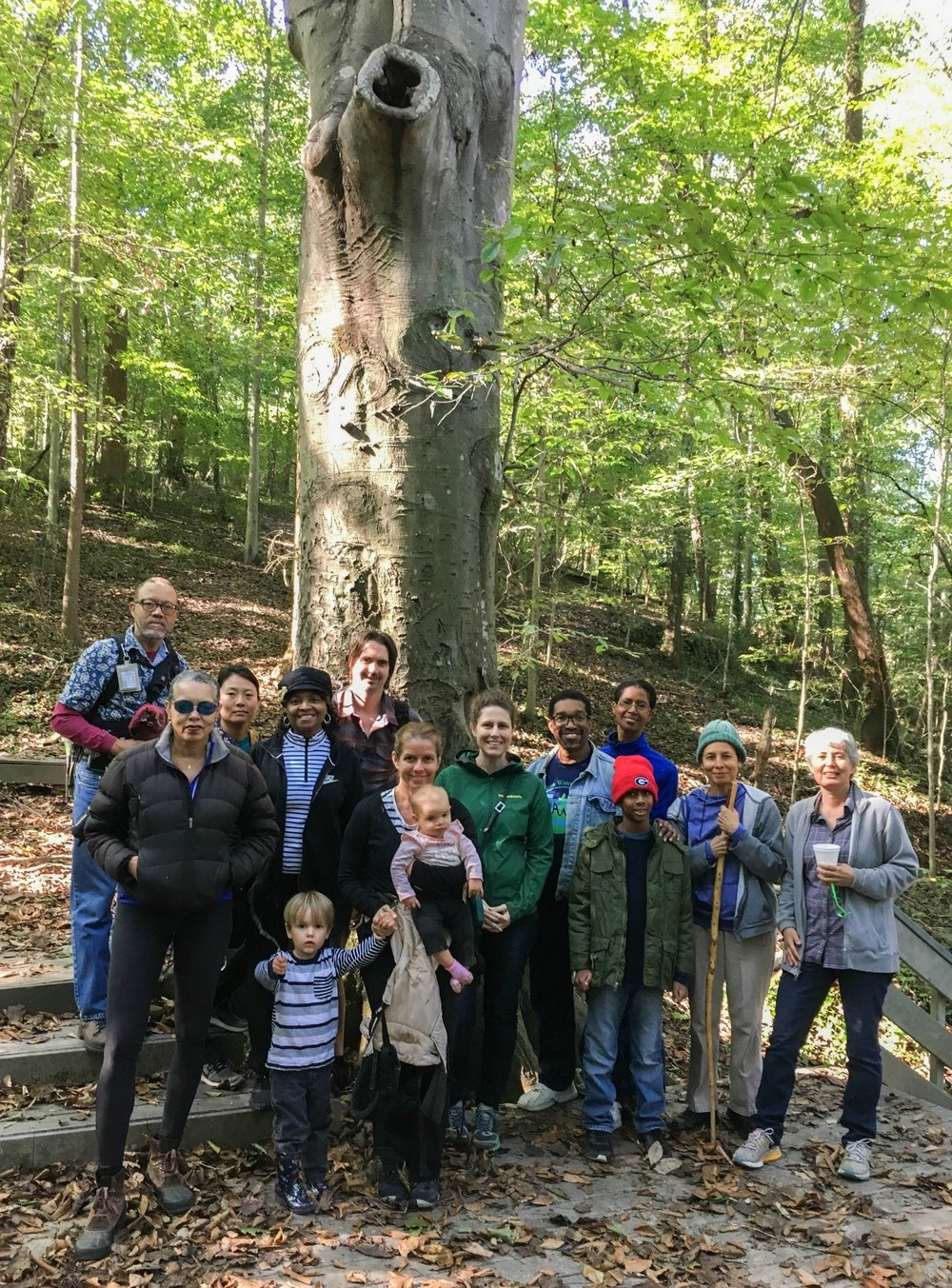 Group shot in front of ~200 year old Beech at the Outdoor Activity Center