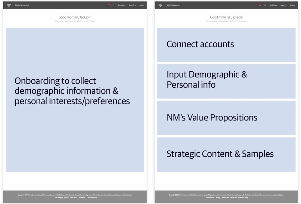 [Left]  After a successful registration, an onboarding screen will pop up asking the user to input their personal interests and preferences.  [Right]  Those data then will be used to surface relevant content to the user on the Summary Page.