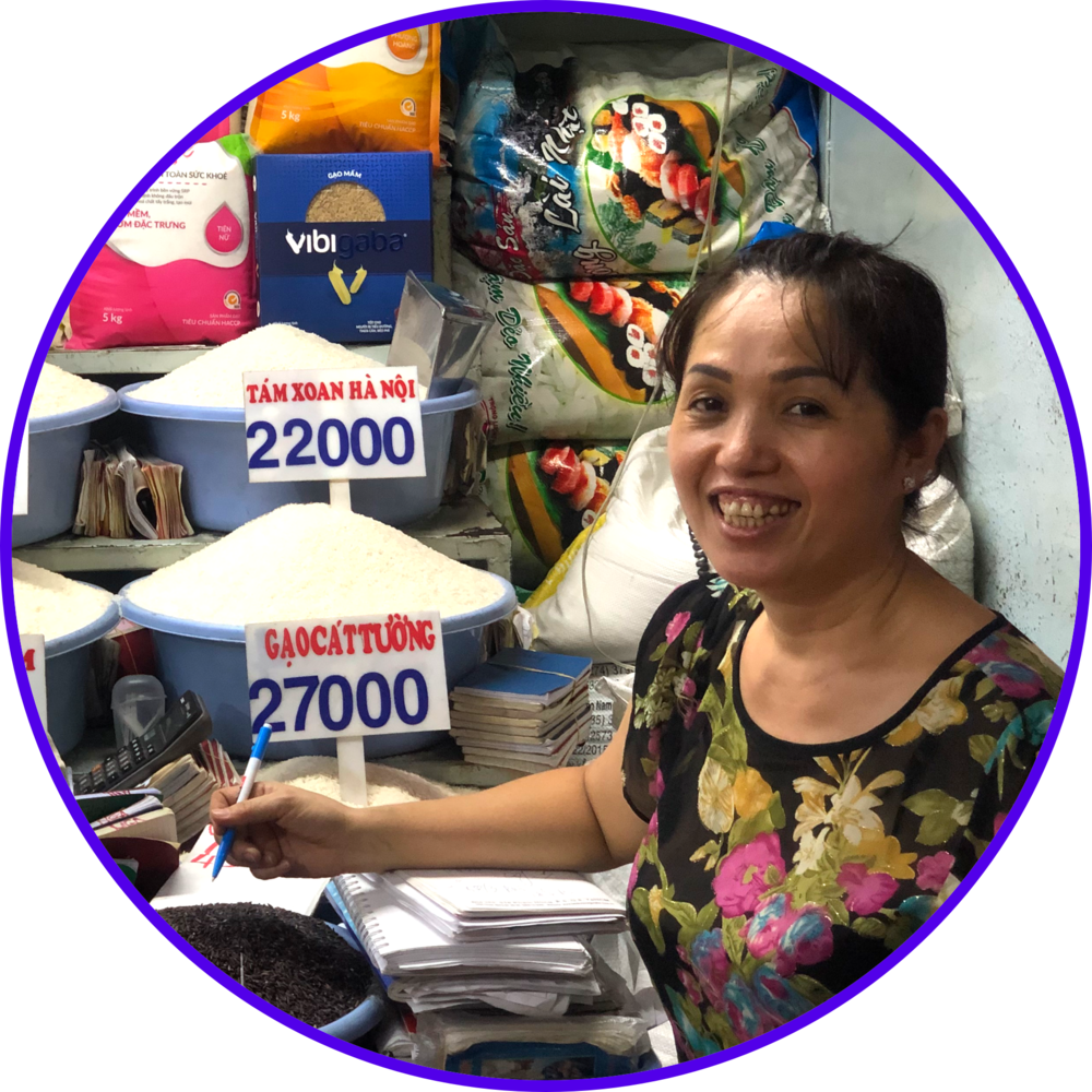 MISS HIEN, STABLE MARKET VENDOR - Selling rice and snacks at Tân Định market in District 3 for over 20 years. She works daily from 6 AM to 7 PM, making an average of $70 in profit.She needs to borrow $2,500 from the bank and decides to put down her stall lease as collateral for the loan. Even though the bank asks for a lot of legal documents, the process seems easy to follow. It takes a couple of days for her loan to be approved.Although her stall lease is worth $5,000, the bank only lends her $2,000. The payment will be collected in cash daily at her stall by a bank staff. Since she has to pay both the principal and interest each day, she realizes she doesn't have much left at the end to invest in more inventory to grow her business.