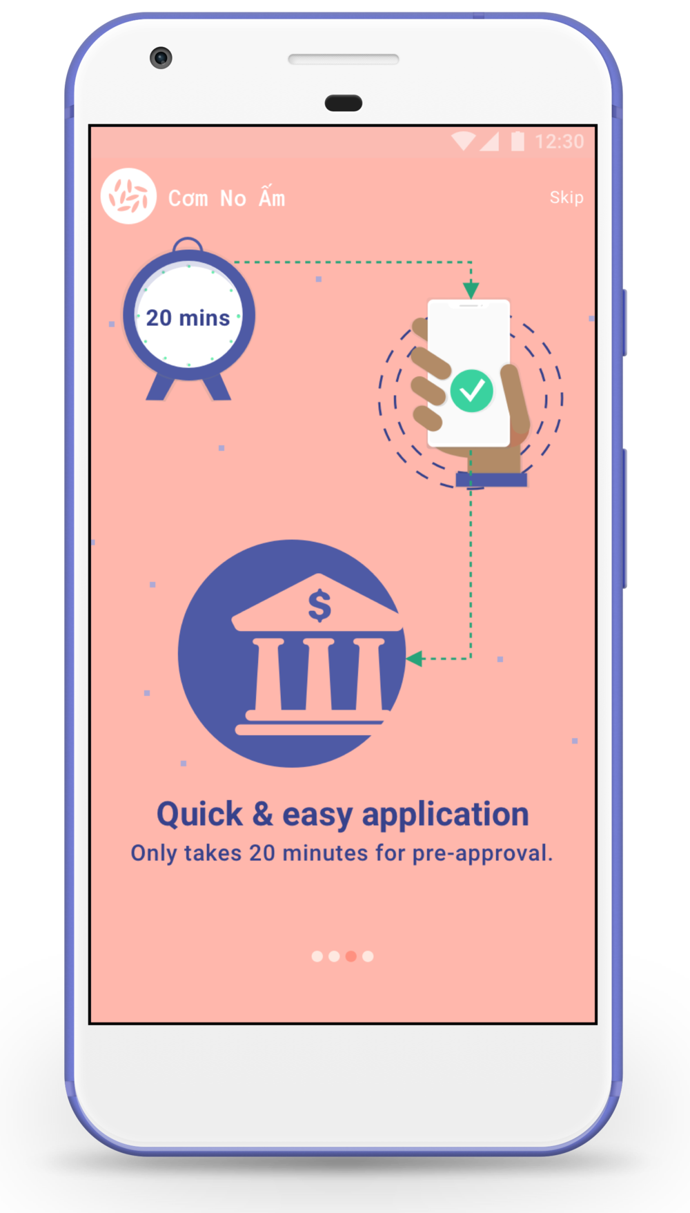 To respond to the user's time-sensitive need, it takes only 20 minutes for her to get pre-approved . She then comes to the bank with a valid ID to sign the paperwork and withdraw the cash loan.