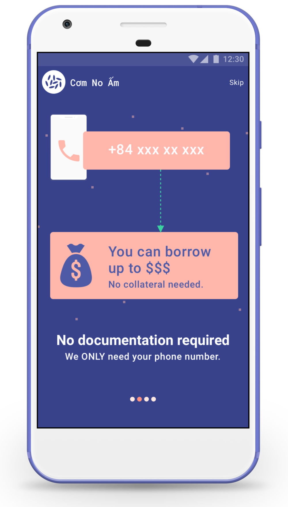 Once the user has installed the app, the new credit scoring technology allows her to find out how much unsecured loan she can borrow up to. All she needs to do is to provide her phone number.