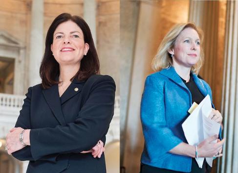 U.S. Senators Kelly Ayotte and Kirsten Gillibrand Photo: Getty Images