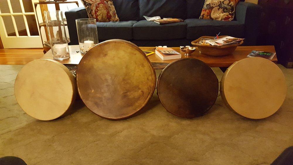 Elk, Moose, Horse and Deer drums- front shown