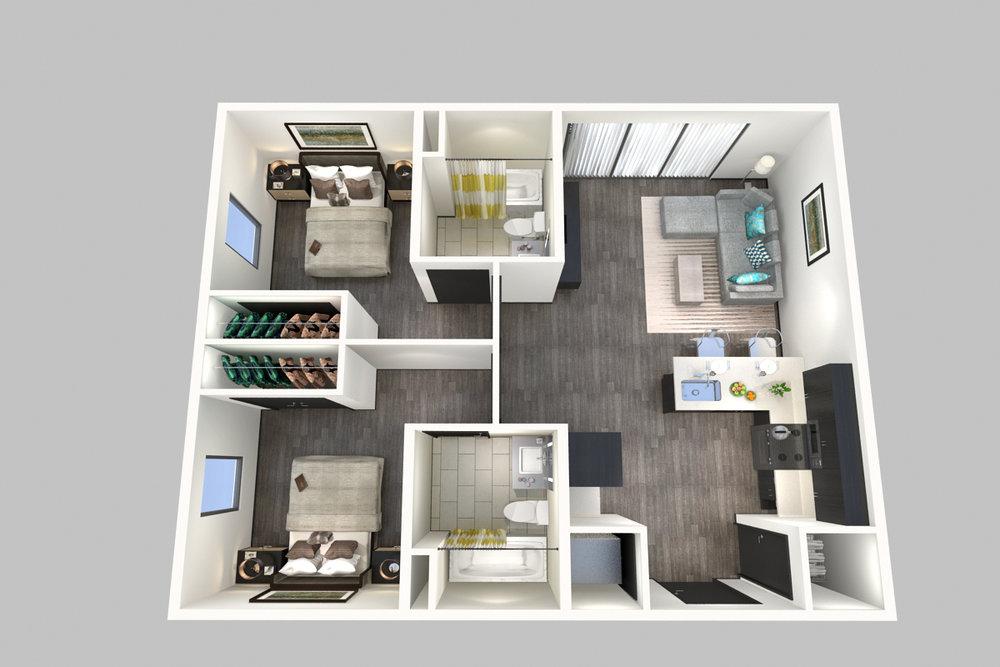 2 Bedroom, 2 Bathroom - Floorplan A - 800 South Apartments - Springfield, Missouri