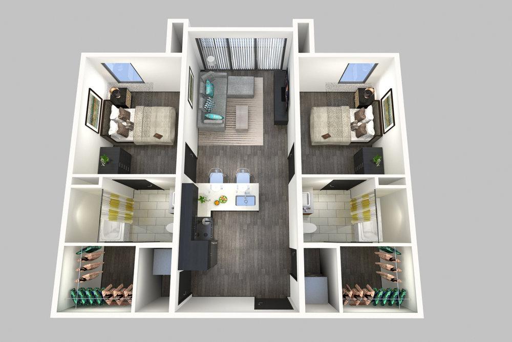 2 Bedroom, 2 Bathroom - Floorplan C - 800 South Apartments - Springfield, Missouri
