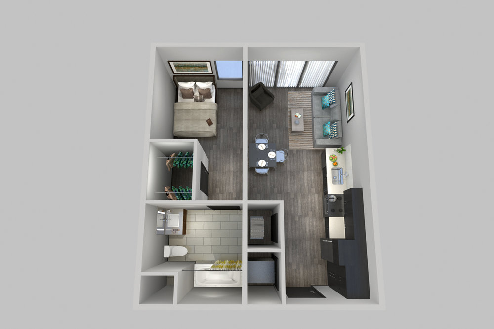 1 Bedroom, 1 Bathroom - Floorplans D & E - 800 South Apartments - Springfield, Missouri