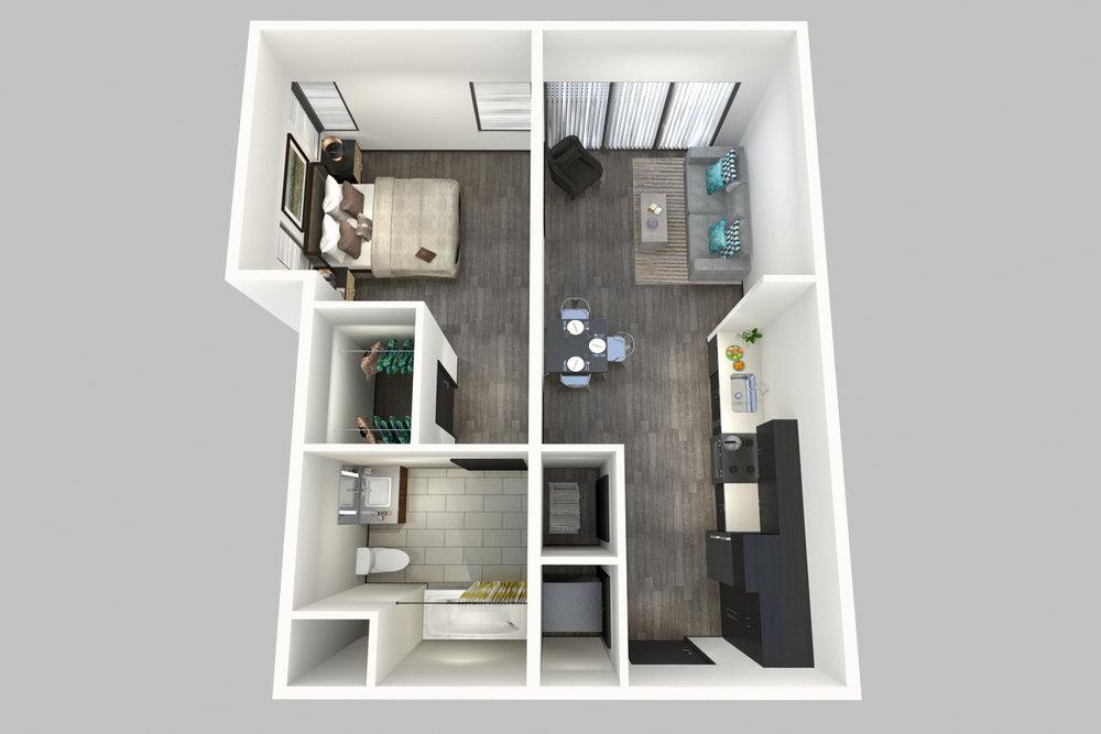 1 Bedroom, 1 Bathroom - Floorplans F - 800 South Apartments - Springfield, Missouri