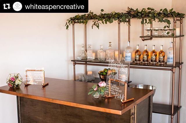 Team Copper! 😍#coppereverything . . Photo: @nstephensonphotography  Venue: @whiteaspencreative  Design: @swooneventanddesign  Rentals: @heirloomsandco  Liquor: @craterlakespirits  Signs + Stands: @bensonpaperco  #Repost @whiteaspencreative ・・・ This oh so pretty makes bar us excited for the weekend again! 😁 It's so pretty @heirloomsandco 🙌🏻❤️ And guess what? You can rent it for your next intimate gathering! 😮. #venue #inbend #smallevents #moderncalligraphy #calligraphy #weddingcalligraphy #acrylicsigns #weddingsignage #bendoregon #centraloregonweddings