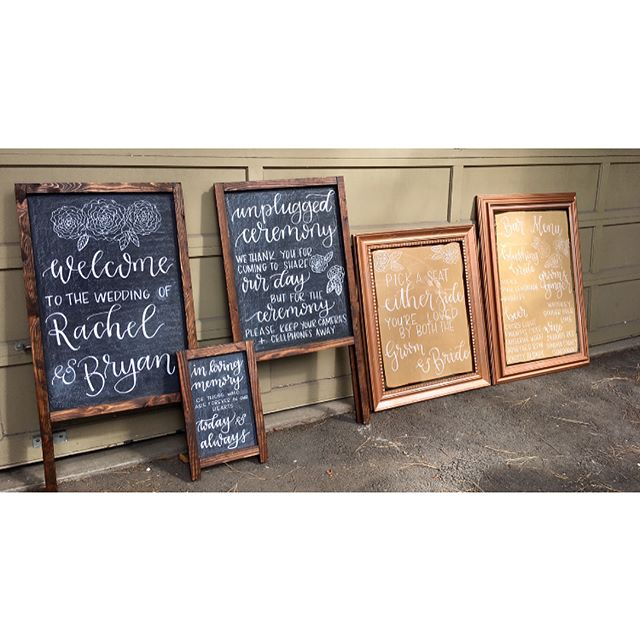 This lovely set is out the door! I love when couples get crafty and work together to create their own boards and surfaces, and even put protective covering on the backs of acrylic 😍 More of those chalkboards please! . . . . . #bensonpaperco #calligraphy #weddingcalligraphy #moderncalligraphy #lettering #handlettering #weddingsign #weddingchalkboard #acrylicsigns #crafty #handmade #create #pnwwedding #centraloregonweddings #chalklettering #chalksign #freehand #madeinbend #supportlocal #makelocalhabit