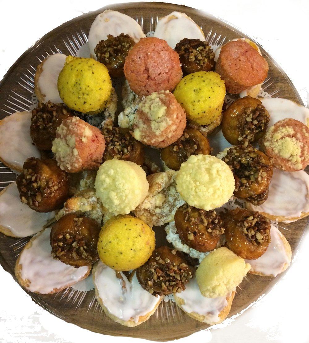 Mini Pastry Tray - Includes one dozen each of mini pastry hearts, mini danish cups, mini muffins and mini sticky buns.$41.00