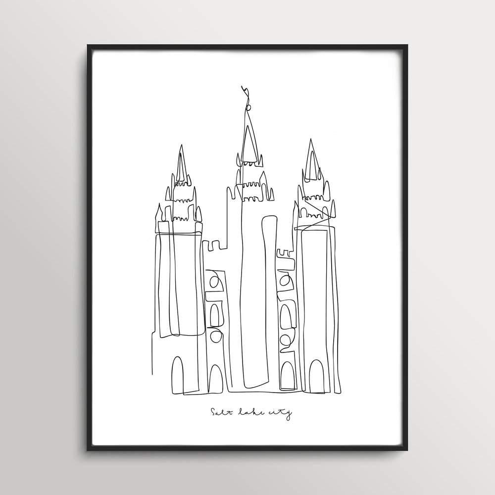Salt Lake Temple Continuous Line Art
