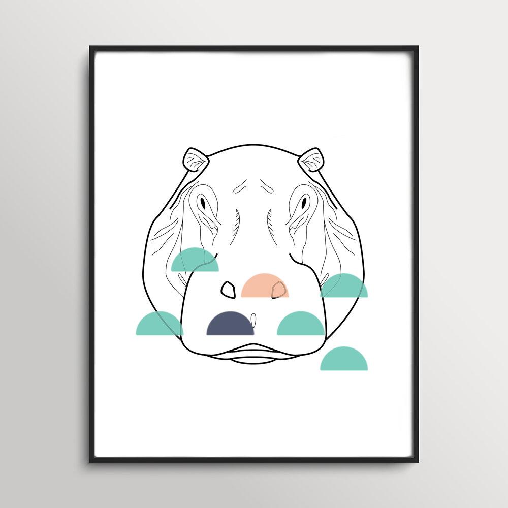 Hippo Geo Animal Print