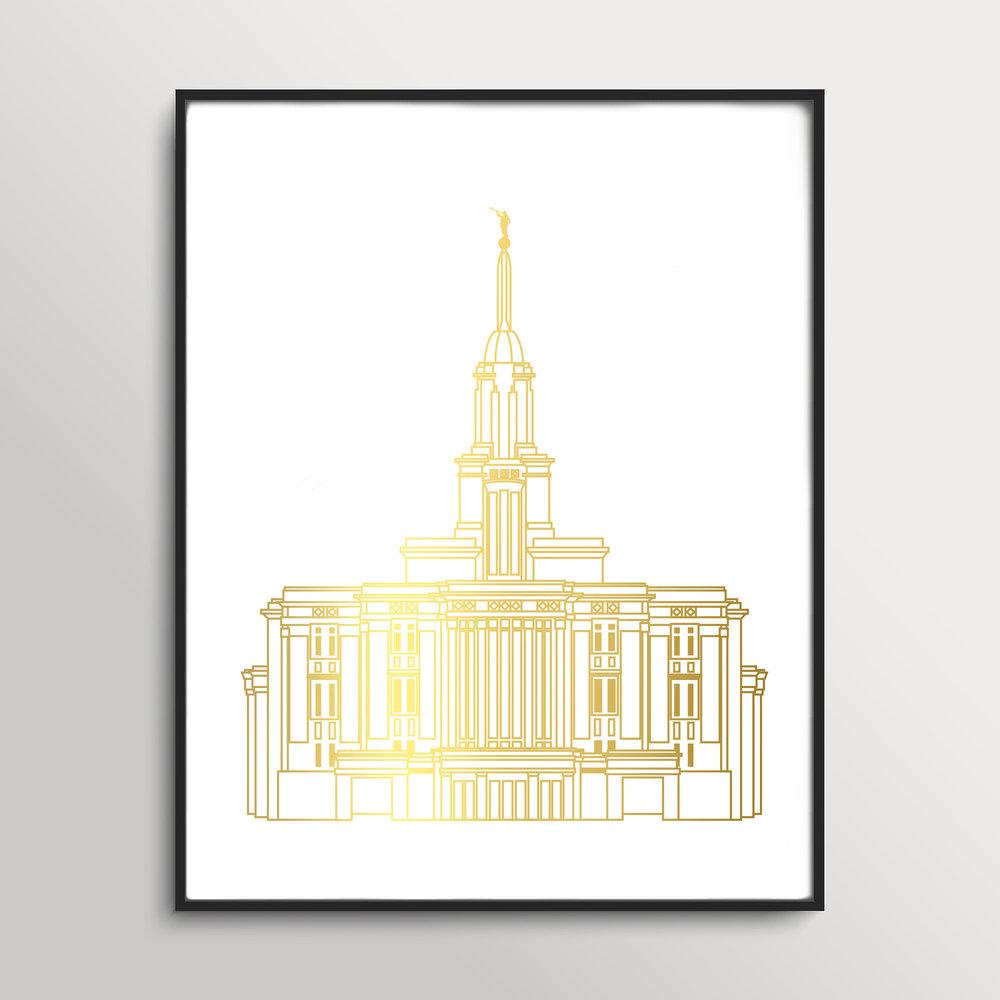 Payton Utah Gold Foil Temple Print