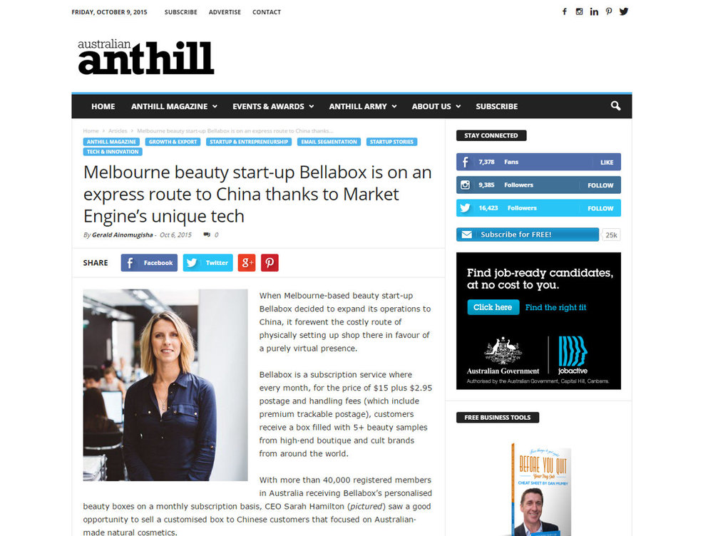 Melbourne beauty start-up Bellabox is on an express route to China