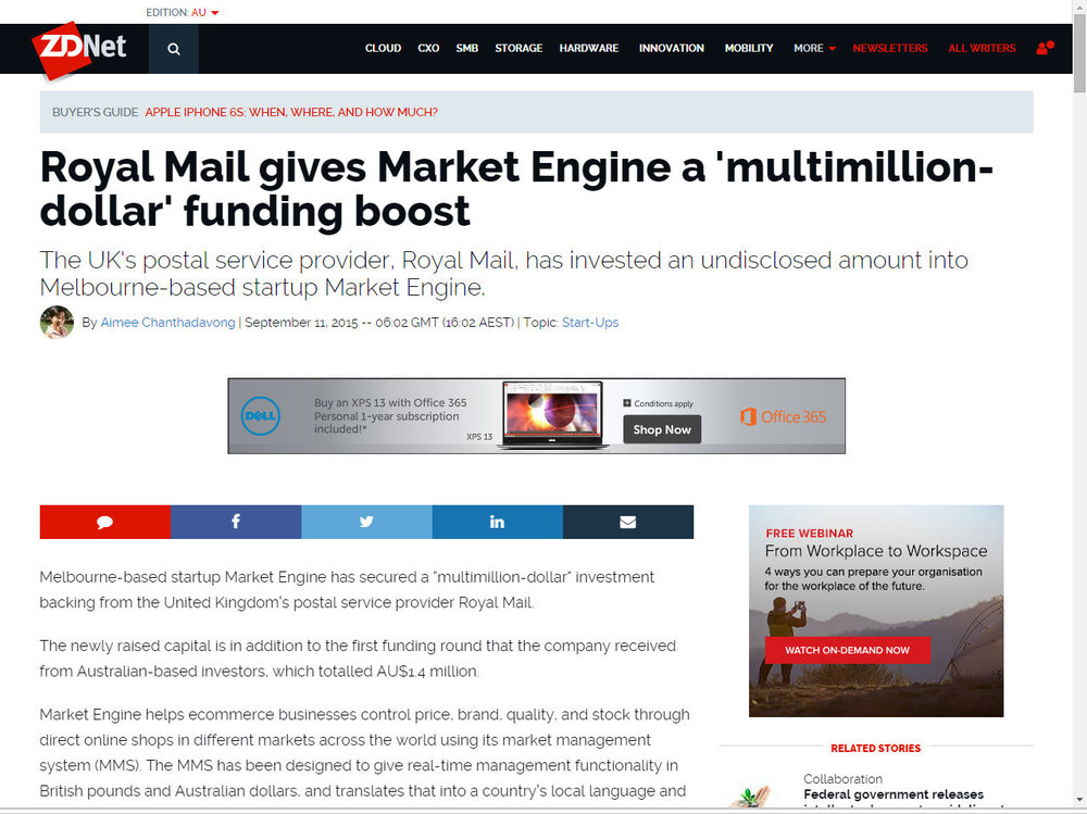 Royal Mail gives Market Engine a 'multimillion-dollar' funding boost
