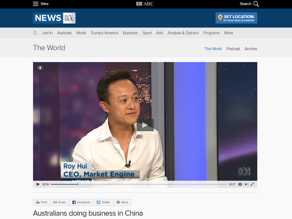 Australians doing business in China - Interview on The World
