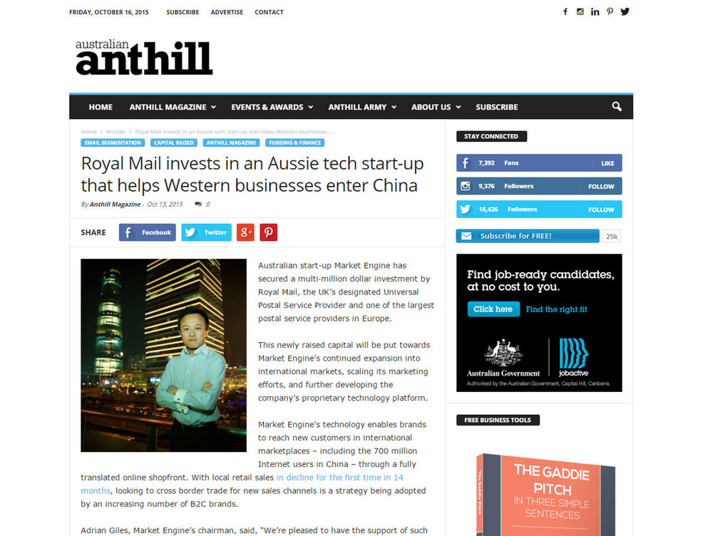 Royal Mail invests in an Aussie tech start-up that helps Western businesses enter China
