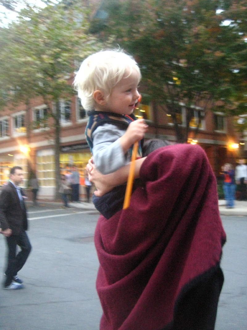 That's me. The crazy Momma, rockin' with my kid to some tremendous drum cadences at a Halloween parade in Princeton, New Jersey circa 2012. Yep, all by myself. Not another soul struttin'.   photo by Jared Rosenbaum.