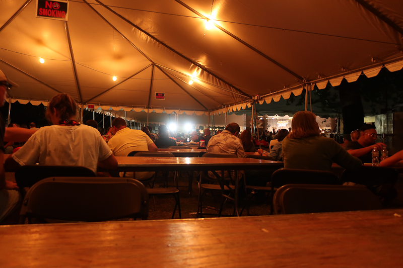 The view from the way back table at the very entertaining and energetic  Igor and the Red Elvises  show at  Musikfest .