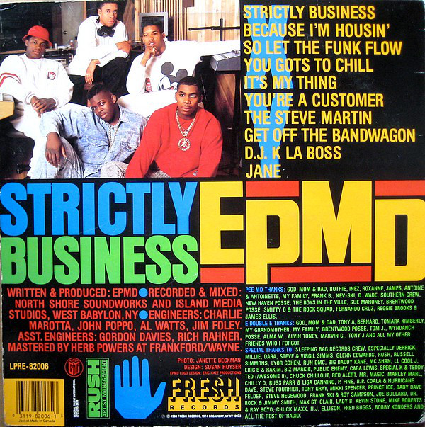 Back cover of EPMD's 'Strictly Business' showing the tracklist