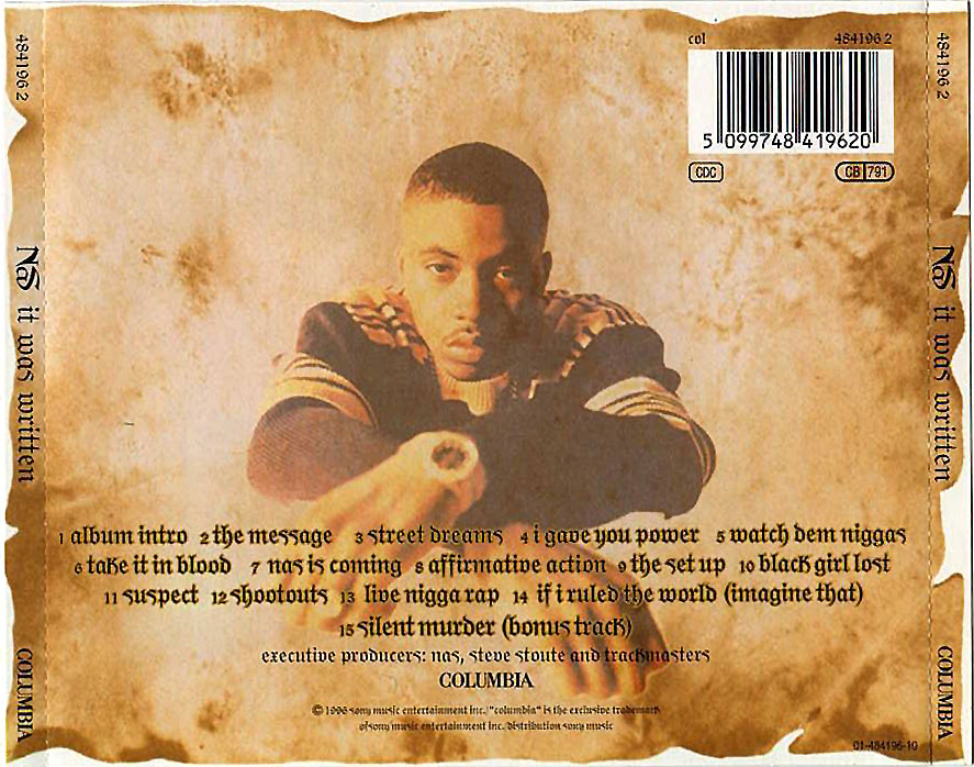 Back cover of It Was Written by Nas