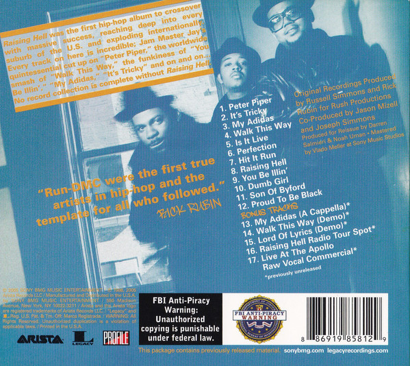The back cover of Run-DMC's Raising Hell showing the tracklist for the album
