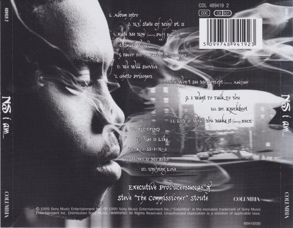 The back cover of Nas' I Am album showing the tracklist