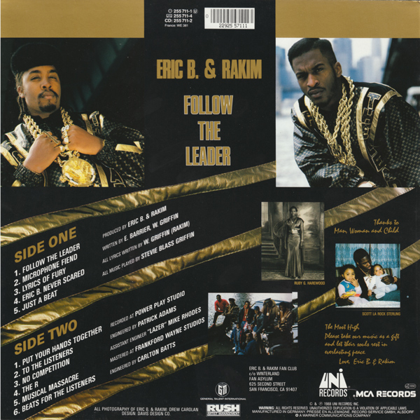 The back cover from  Follow The Leader  showing the tracklist and some more photos
