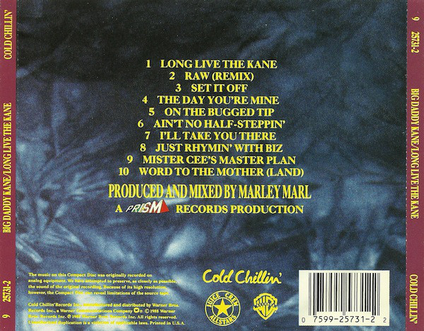 The back cover to Big Daddy Kane's  Long Live The Kane  album - Showing the track list