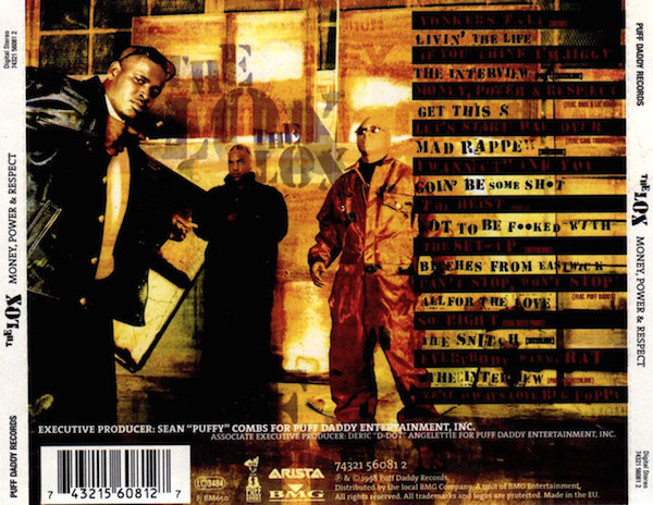 The back cover of The Lox's  Money, Power & Respect  showing the track list