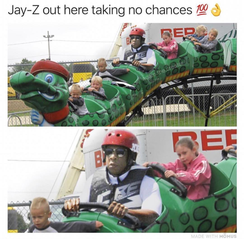 "Jay-Z is not the only one out there who doesn't like the ""fast"" and ""dangerous"" rides at the amusement park."