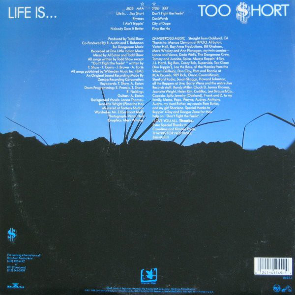 The back cover of  Life's Too Short  showing the inside of a grave looking up