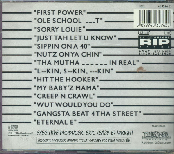 The back cover of Eazy-E's  Straight off tha Streetz of Muthaphukkin' Compton  showing the tracklist