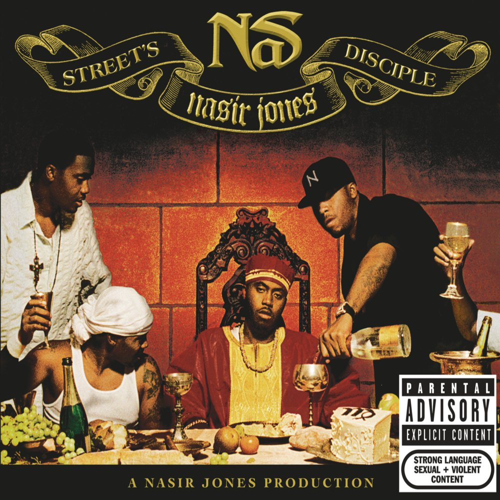 The  Street's Disciple  cover portrays Nas as Jesus in The Last Supper