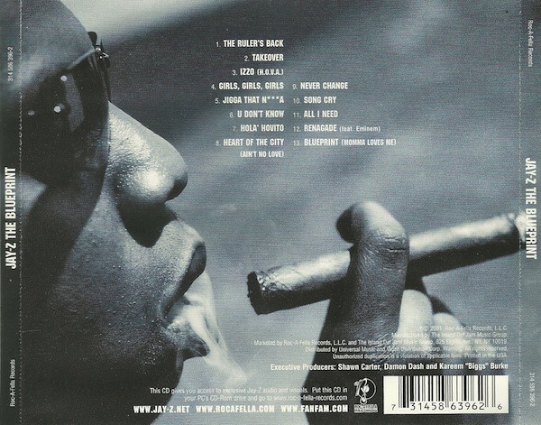 The CD backcover of  The Blueprint  showing the tracklist and Jay-Z as a successful businessman smoking a cigar