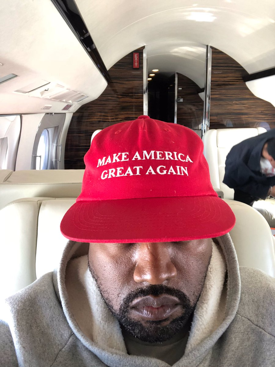 The true meaning of the MAGA hat is unknown to most , but Kanye knows  the real  - Photo courtesy of  @Ye