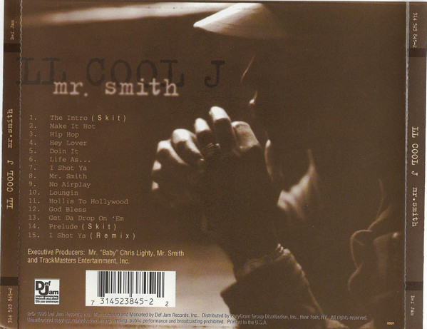 This is the CD back cover of  Mr. Smith  showing the tracklist of this awesome album as well as a another photo of LL Cool J (1995)