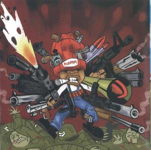 Redman's cartoon shows Doc taking out an entire army with about 40 guns (from  Malpractice  CD inlay)