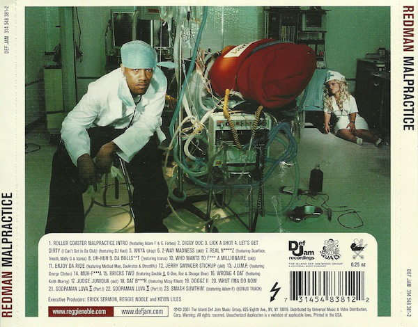 Tracklist for Redman's  Malpractice  (CD back cover)