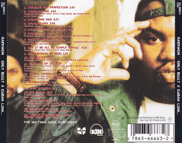 Tracklist for Raekwon's  Only Built 4 Cuban Linx