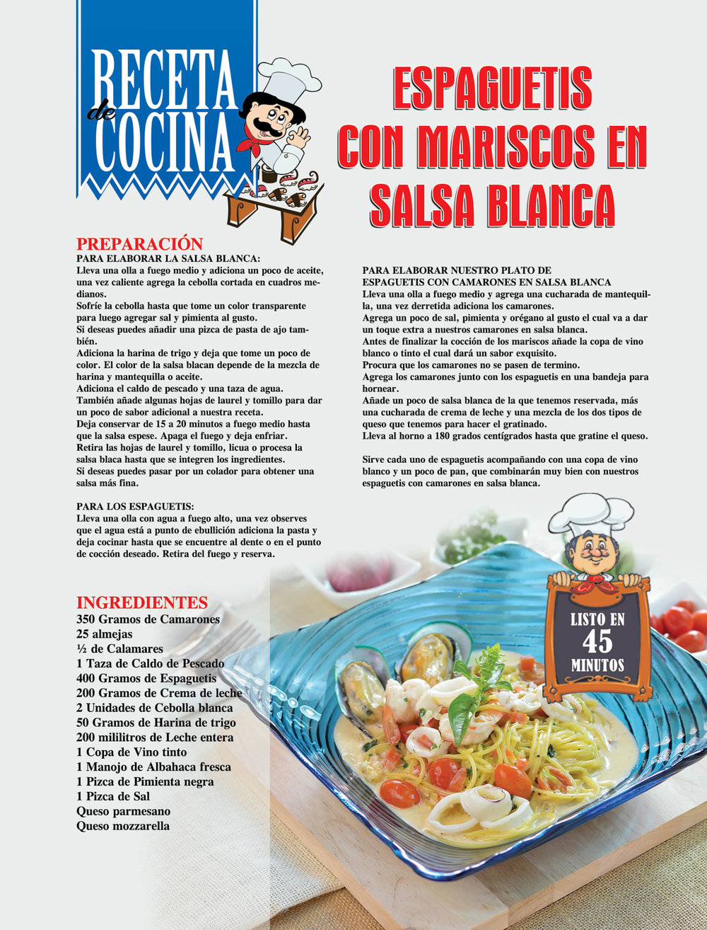 Receta De Cocina: Espaguetis Con Mariscos En Salsa Blanca