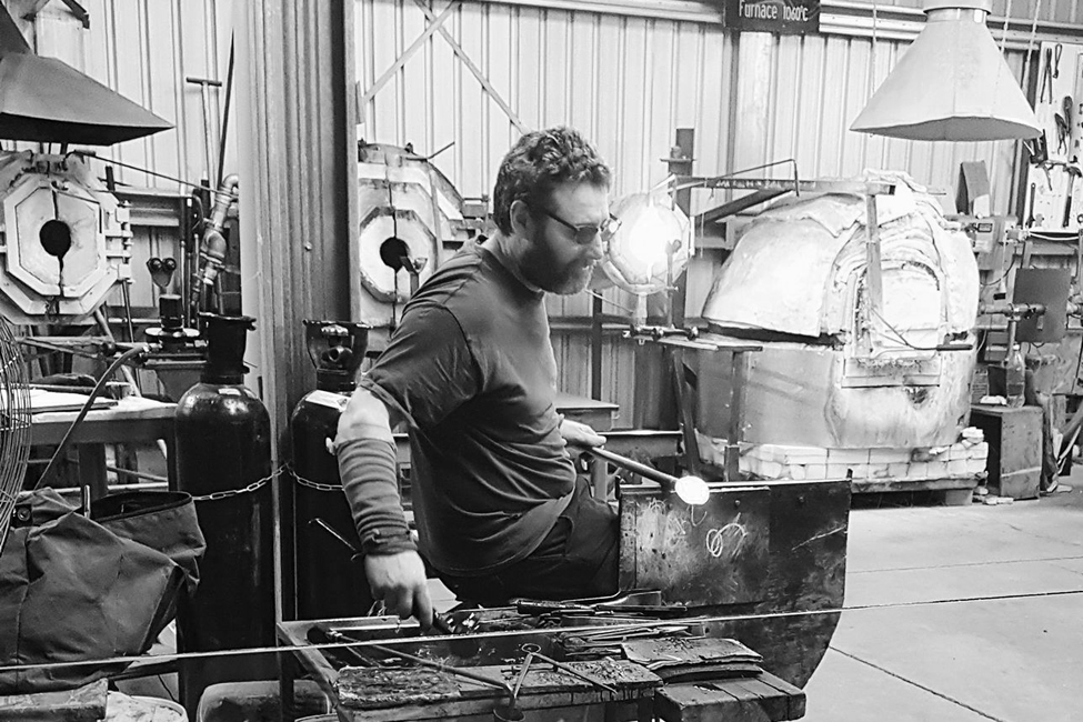 Chris Jones - Chris Jones is an English glass-maker, currently living and working near Lake Taupo in New Zealand. Until arriving in New Zealand, Chris worked at the highly-respected Neil Wilkin Studios in Frome, Somerset, for over 5 years. During this time Chris developed his skills as a glass-maker and worked on pieces for renowned European glass artists.