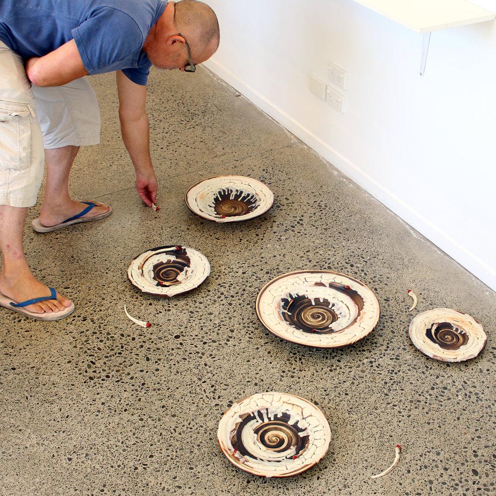 Michael Michaels preparing his installation