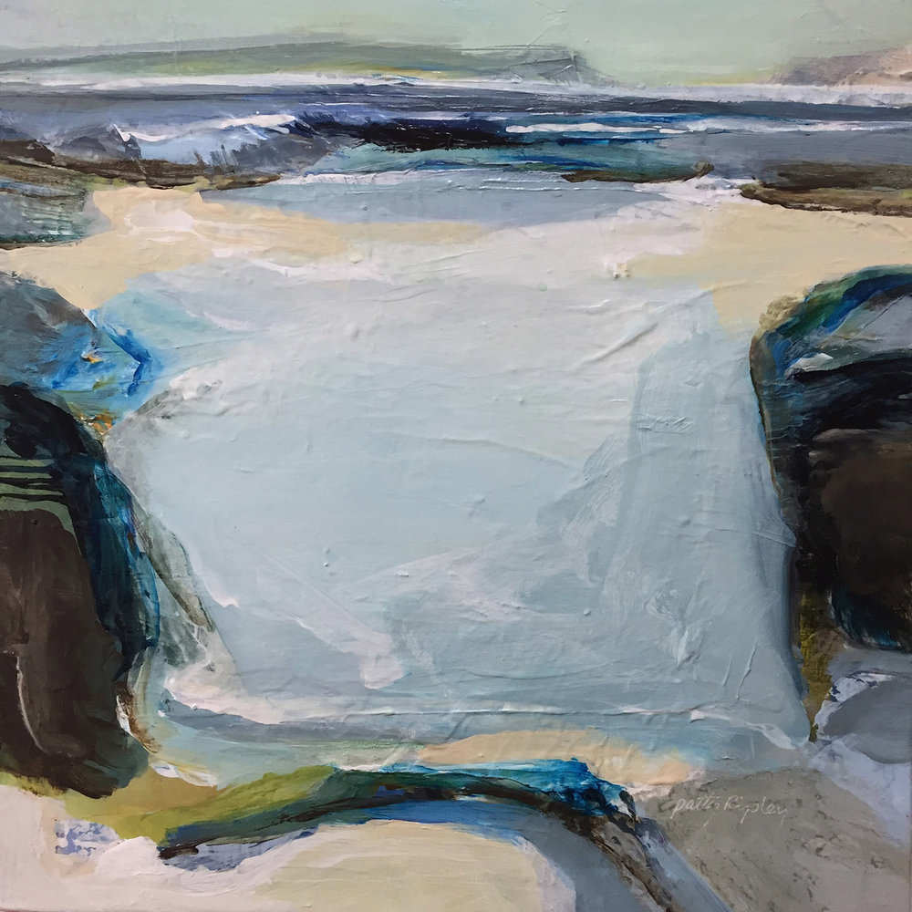 "Patty Ripley - ""Painting the essence of how I experience, say, a hike along a shore trail or a deep conversation by a rushing river, and conveying that through color choices and paint is deeply satisfying for me."""